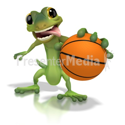 gecko basketball - wildlife and nature - great clipart for