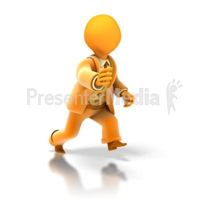 Business Stick Figure Run Presentation clipart