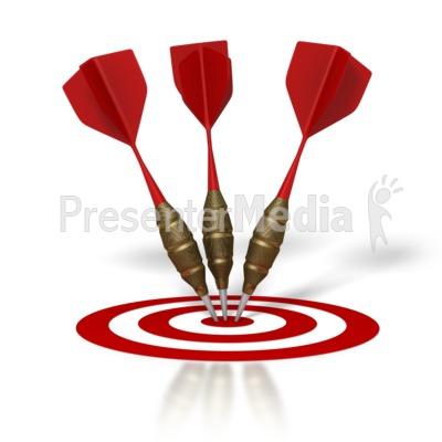 Three Darts Hit Target Presentation clipart