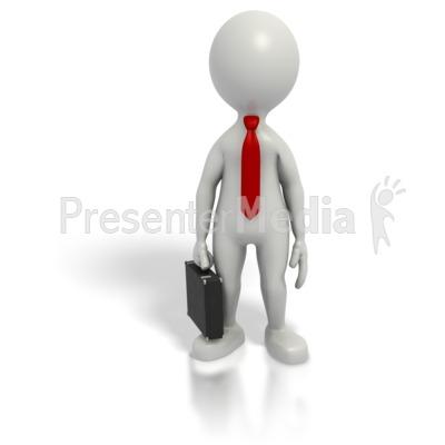 Business Grey Stick Guy Briefcase Presentation clipart