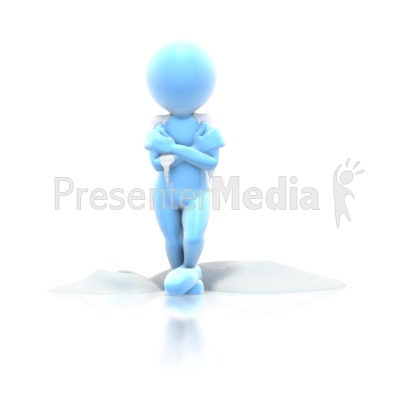 Cold Stick Guy Standing Snow Presentation clipart