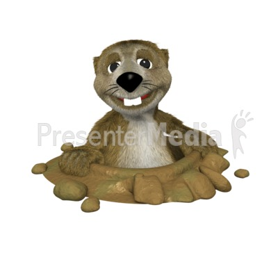 A clipart image of Gordy the Groundhog peeking out of his hole.