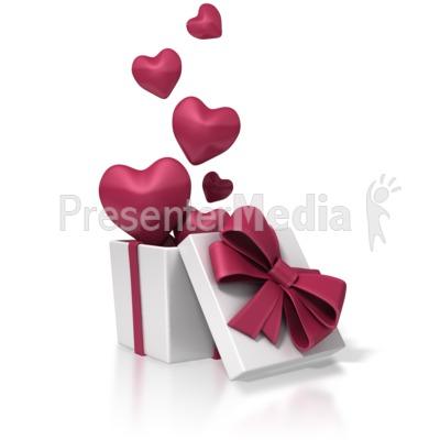 Valentines Day Box Of Hearts Presentation clipart