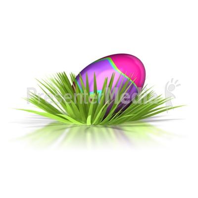 Retro Easter Egg In Grass  Presentation clipart