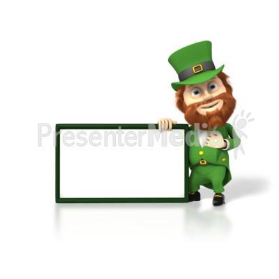 Happy Leprechaun With Sign Presentation clipart