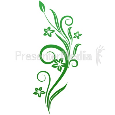 Vines Swirl Green Flowers Presentation clipart