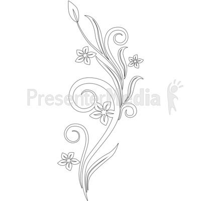 clip art flowers vines. Vines Swirl White Flowers