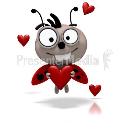 Ladybug - Love Bug Flying Holding Heart Presentation clipart