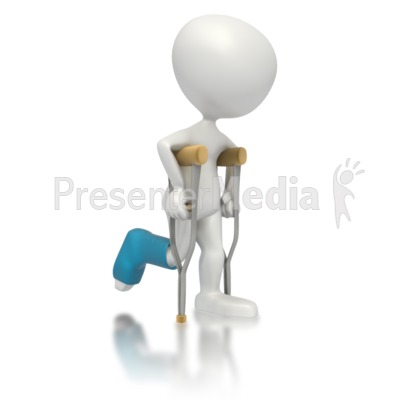 Stick Character on Crutches PowerPoint Clip Art