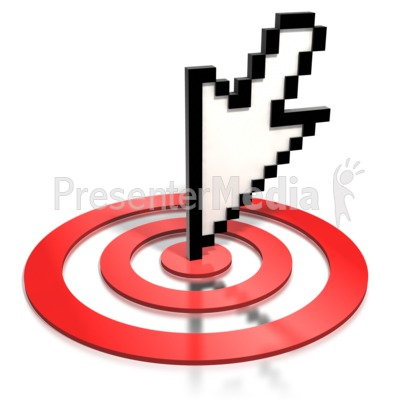 Pixelated Cursor Arrow On Target Presentation clipart
