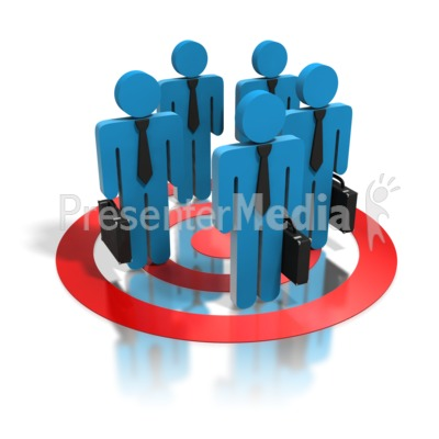 Blue Business People Standing In Target Presentation clipart