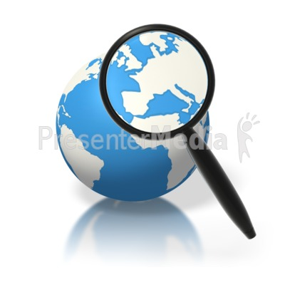 Earth Magnifying Glass Europe Presentation clipart