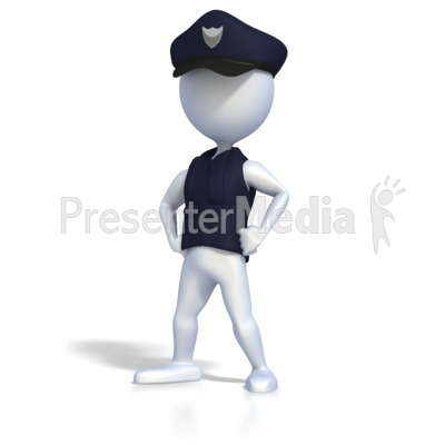 Police Officer Strong Pose Presentation clipart