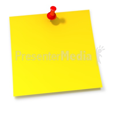 Thumbtack In Yellow Sticky Note Presentation clipart