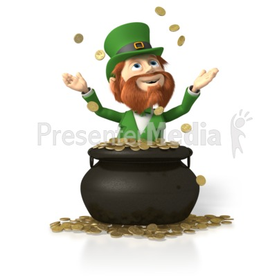 Leprechaun In Pot of Gold Presentation clipart