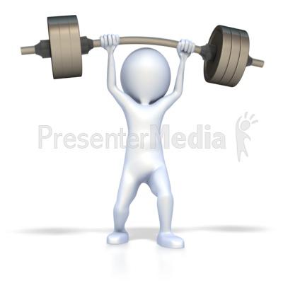 3D Figure Lift Weights Presentation clipart