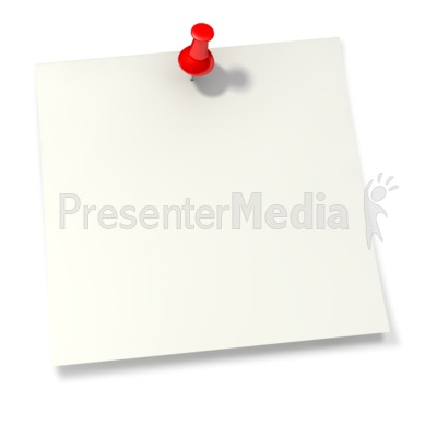 Thumbtack in White Sticky Note Presentation clipart