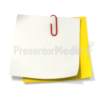 Paper Clip Attached to Two Sticky Notes Presentation clipart