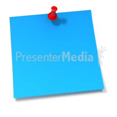 Thumbtack In Blue Sticky Note Presentation clipart