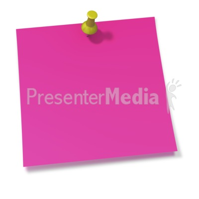 Thumbtack In Pink Sticky Note Presentation clipart