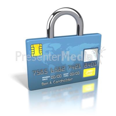 Credit Card World Secure Lock Presentation clipart