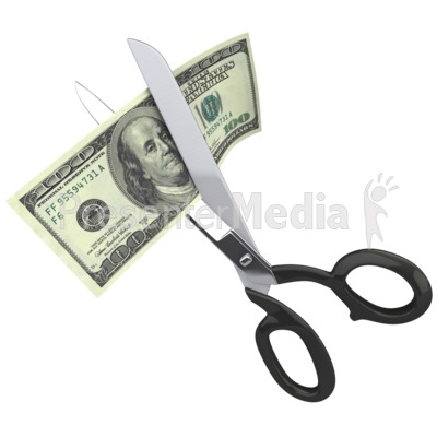 Scissors Clipping a Hundred Dollar Bill Presentation clipart