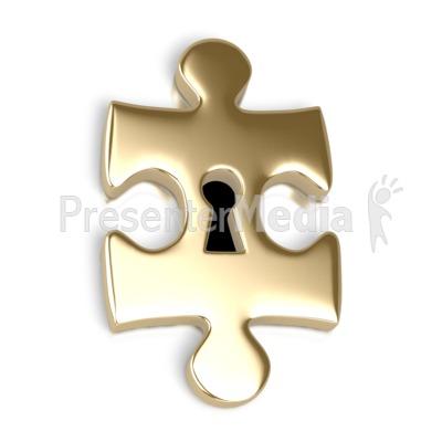 Gold Puzzle Piece Key Hole Presentation clipart