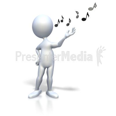 Stick Figure Singing Music Notes Presentation clipart