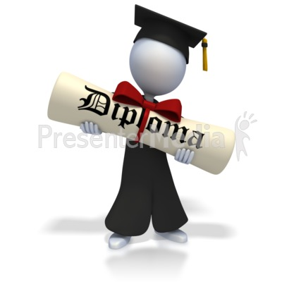 Graduate With Huge Diploma Presentation clipart
