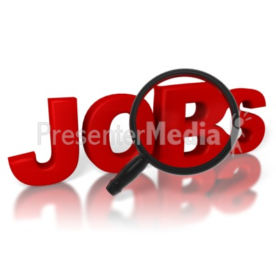 Jobs Search Magnifying Glass Presentation clipart