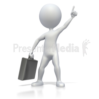 This clip art image shows a business stick figure giving a number one
