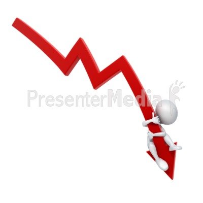Arrow Down Stick Figure Falling Presentation clipart