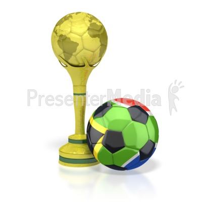 South Africa Soccer Ball with Trophy Presentation clipart