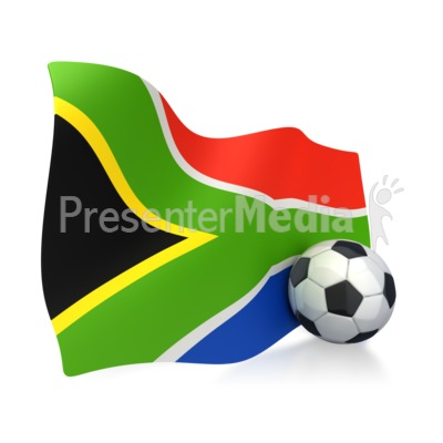 South African Flag With Soccer Ball Presentation clipart