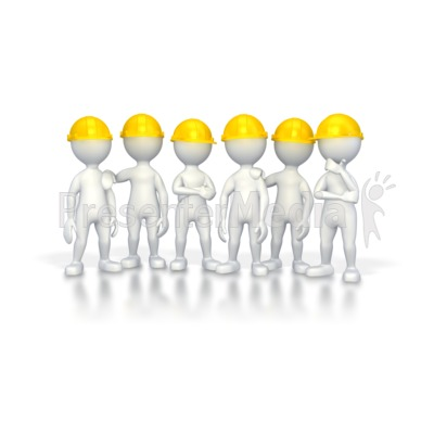 Workers with Hard Hats  Presentation clipart