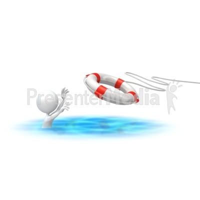 Stick Figure Rescue Buoy Presentation clipart