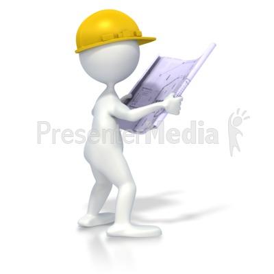 Figure With Blueprints Presentation clipart