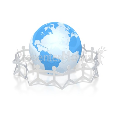 paper figures hold hands around globe Presentation clipart