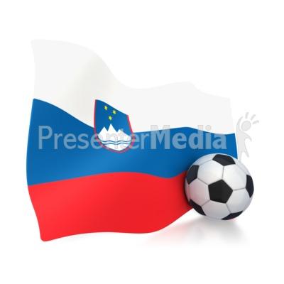 Slovenia Flag With Soccer Ball Presentation clipart