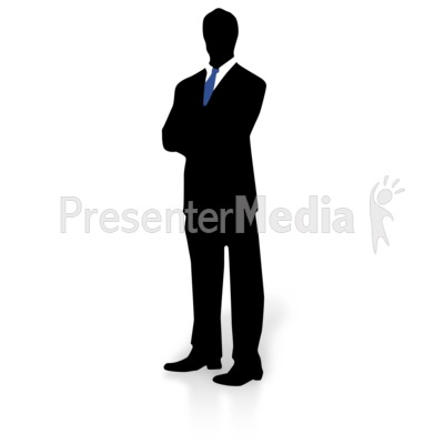 Silhouette of a Man in Suit and Tie Presentation clipart