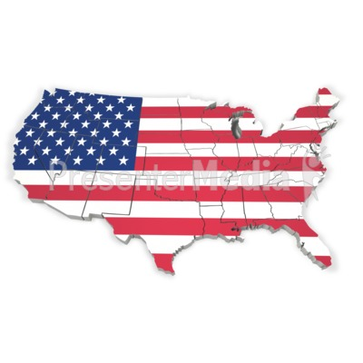 United States Map With Flag PowerPoint Clip Art
