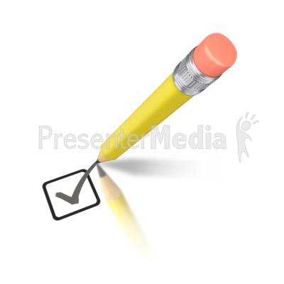 Yellow Pencil Drawing Check Mark Presentation clipart