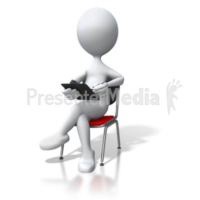 Stick Figure Sitting In Chair Clipboard Presentation clipart