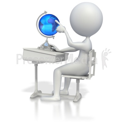 Student at Desk with Globe Presentation clipart