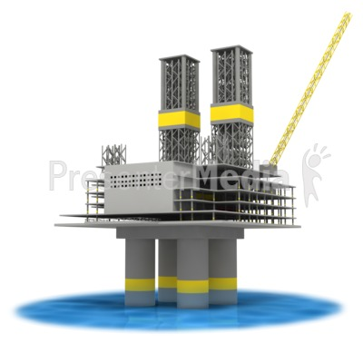 Off Shore Oil Rig In Water  Presentation clipart