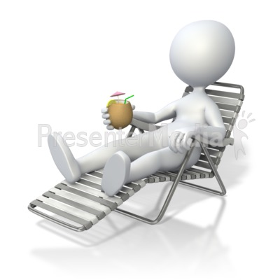 Stick Figure Relaxing in Beach Chair  Presentation clipart