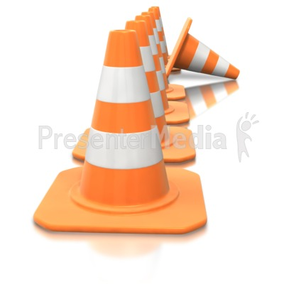 Construction Cone Line Tip Over Presentation clipart