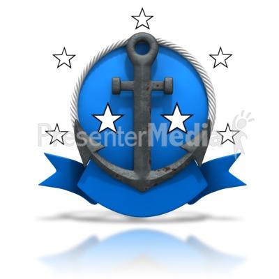 Rusty Anchor Badge Stars Presentation clipart
