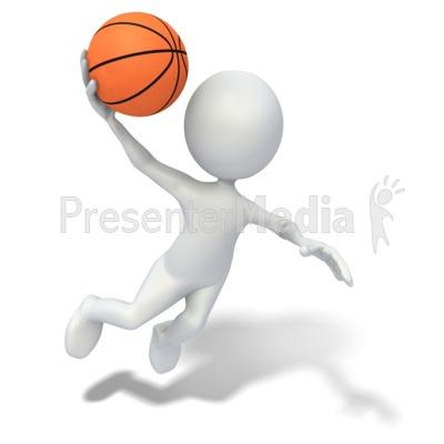 Stick Figure Slam Dunking Basketball - Sports and ...