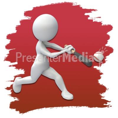 Stick Figure Baseball Icon Presentation clipart
